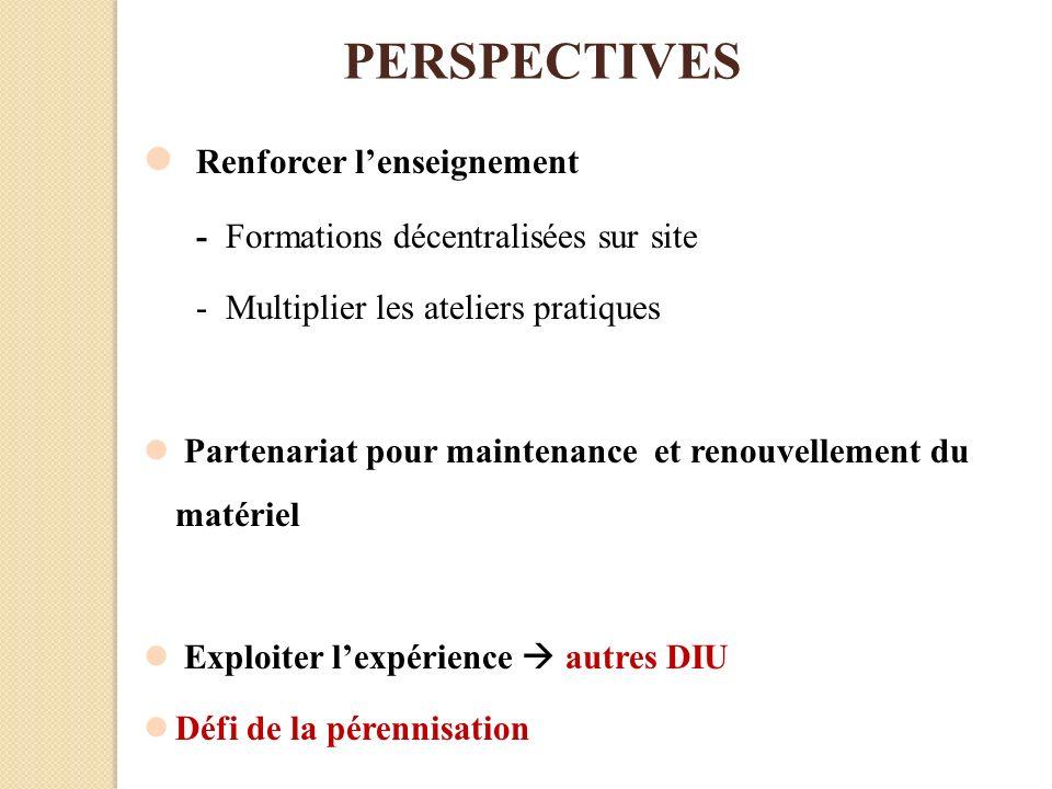 PERSPECTIVES Renforcer lenseignement - Formations décentralisées sur site - Multiplier les ateliers pratiques Partenariat pour maintenance et renouvel