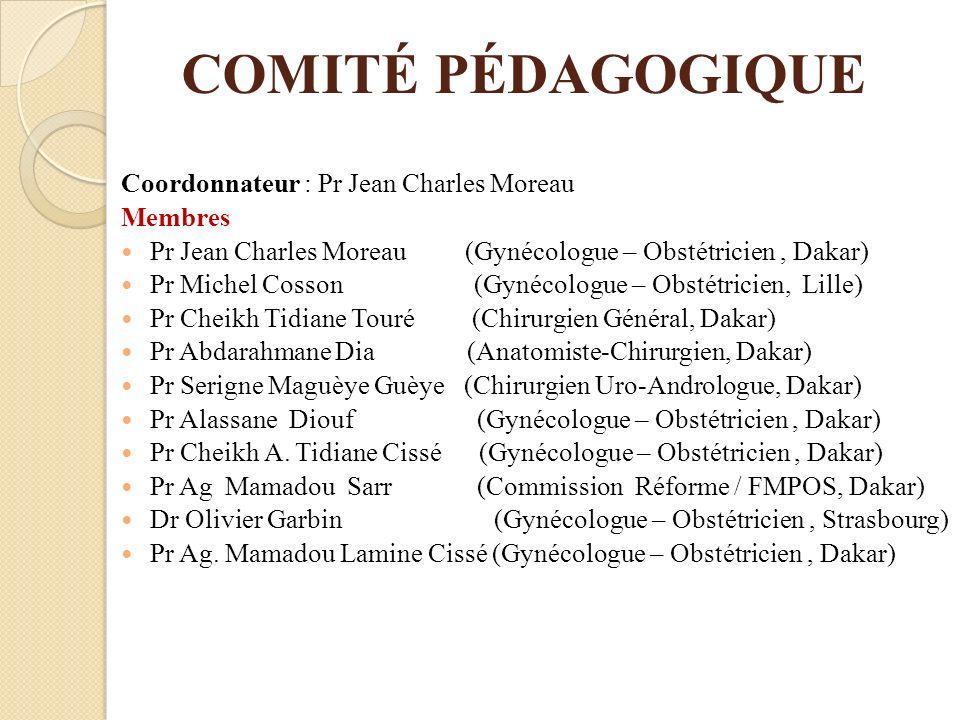 COMITÉ PÉDAGOGIQUE Coordonnateur : Pr Jean Charles Moreau Membres Pr Jean Charles Moreau (Gynécologue – Obstétricien, Dakar) Pr Michel Cosson (Gynécol