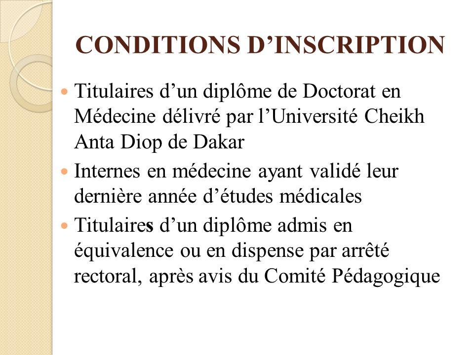 CONDITIONS DINSCRIPTION Titulaires dun diplôme de Doctorat en Médecine délivré par lUniversité Cheikh Anta Diop de Dakar Internes en médecine ayant va