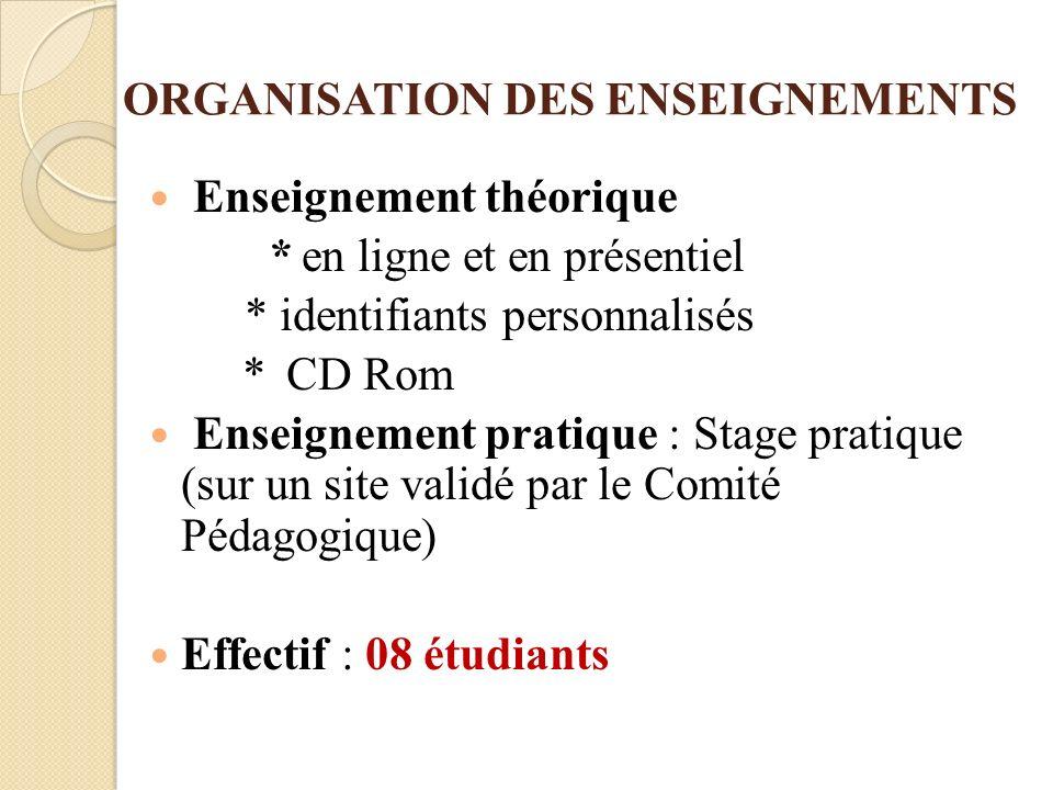 ORGANISATION DES ENSEIGNEMENTS Enseignement théorique * en ligne et en présentiel * identifiants personnalisés * CD Rom Enseignement pratique : Stage