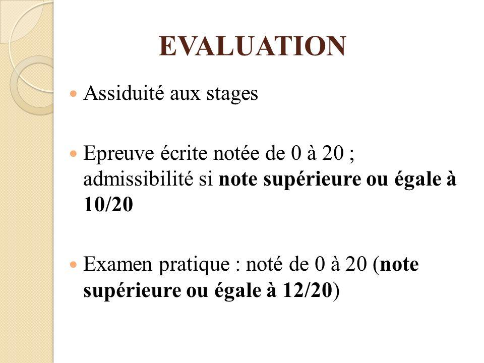 EVALUATION Assiduité aux stages Epreuve écrite notée de 0 à 20 ; admissibilité si note supérieure ou égale à 10/20 Examen pratique : noté de 0 à 20 (n