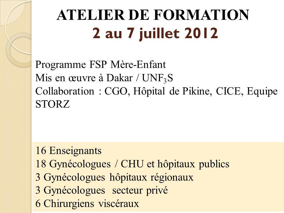 ATELIER DE FORMATION 2 au 7 juillet 2012 Programme FSP Mère-Enfant Mis en œuvre à Dakar / UNF 3 S Collaboration : CGO, Hôpital de Pikine, CICE, Equipe