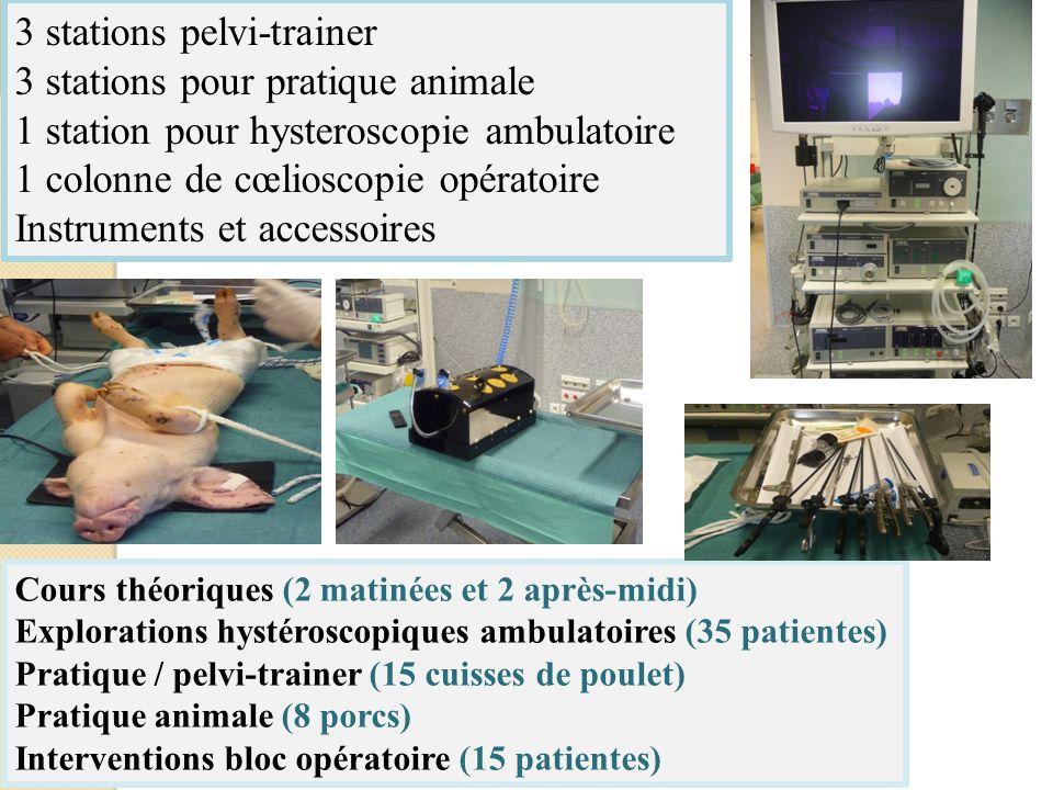 Cours théoriques (2 matinées et 2 après-midi) Explorations hystéroscopiques ambulatoires (35 patientes) Pratique / pelvi-trainer (15 cuisses de poulet