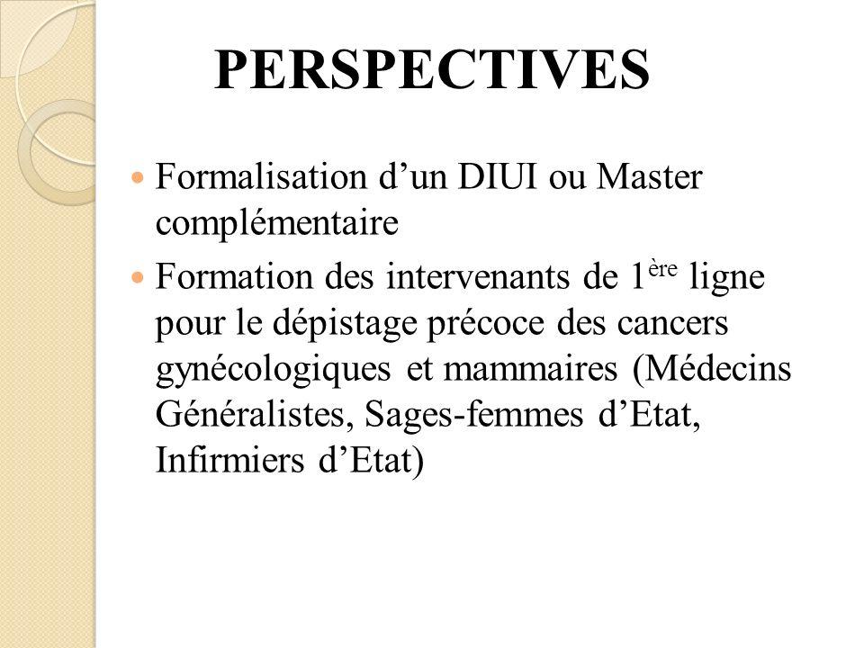 PERSPECTIVES Formalisation dun DIUI ou Master complémentaire Formation des intervenants de 1 ère ligne pour le dépistage précoce des cancers gynécolog