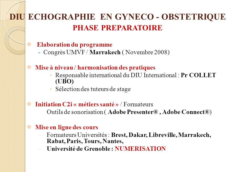 DIU ECHOGRAPHIE EN GYNECO - OBSTETRIQUE PHASE PREPARATOIRE Elaboration du programme - Congrès UMVF / Marrakech ( Novembre 2008) Mise à niveau / harmon