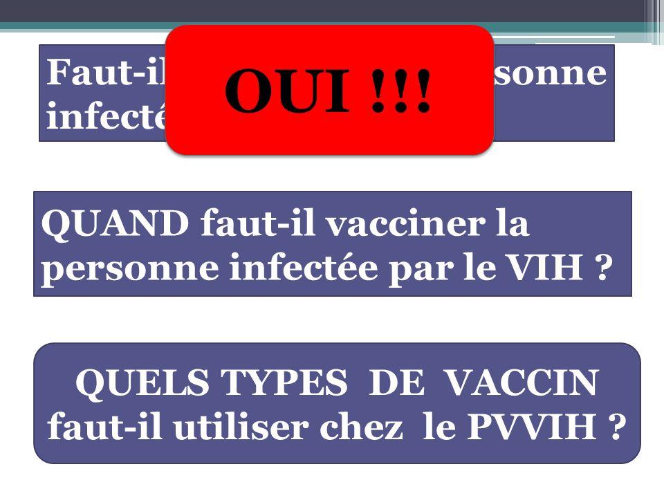 Décision de vacciner tient compte : Statut immunitaire Type de vaccins : vaccin vivant atténué ou non Risque de rebond virologique après la vaccination Risque épidémiologique de la maladie à prévention vaccinale