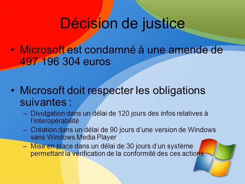 Décision de justice Microsoft est condamné à une amende de 497 196 304 euros Microsoft doit respecter les obligations suivantes : –Divulgation dans un