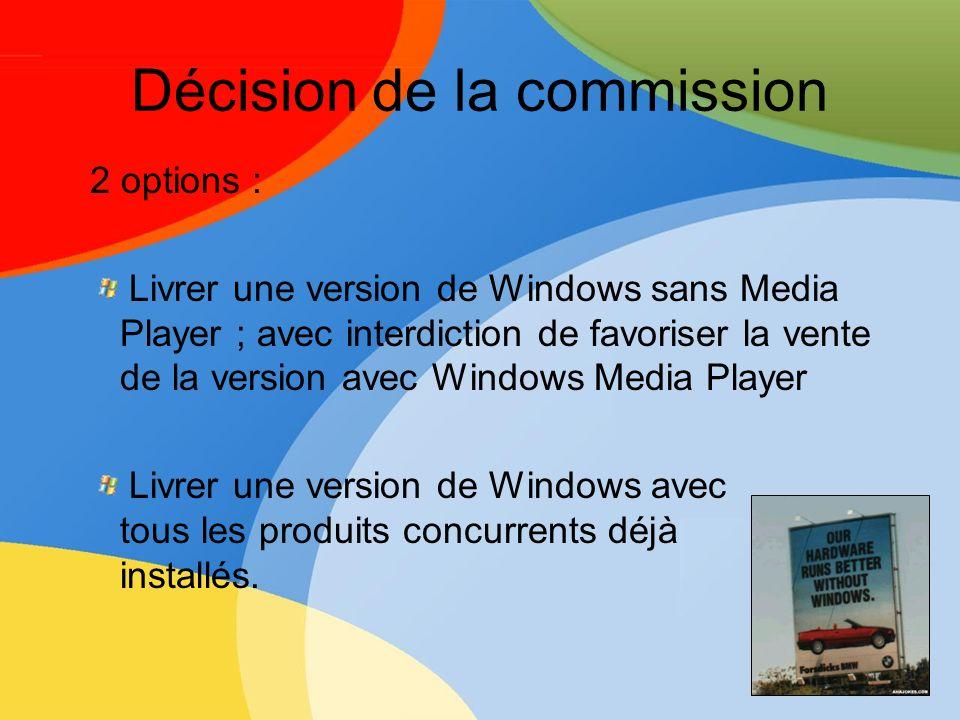 Décision de la commission 2 options : Livrer une version de Windows sans Media Player ; avec interdiction de favoriser la vente de la version avec Win