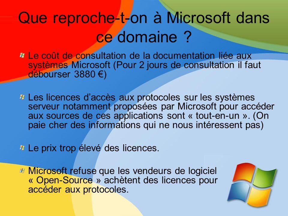 Que reproche-t-on à Microsoft dans ce domaine ? Le coût de consultation de la documentation liée aux systèmes Microsoft (Pour 2 jours de consultation