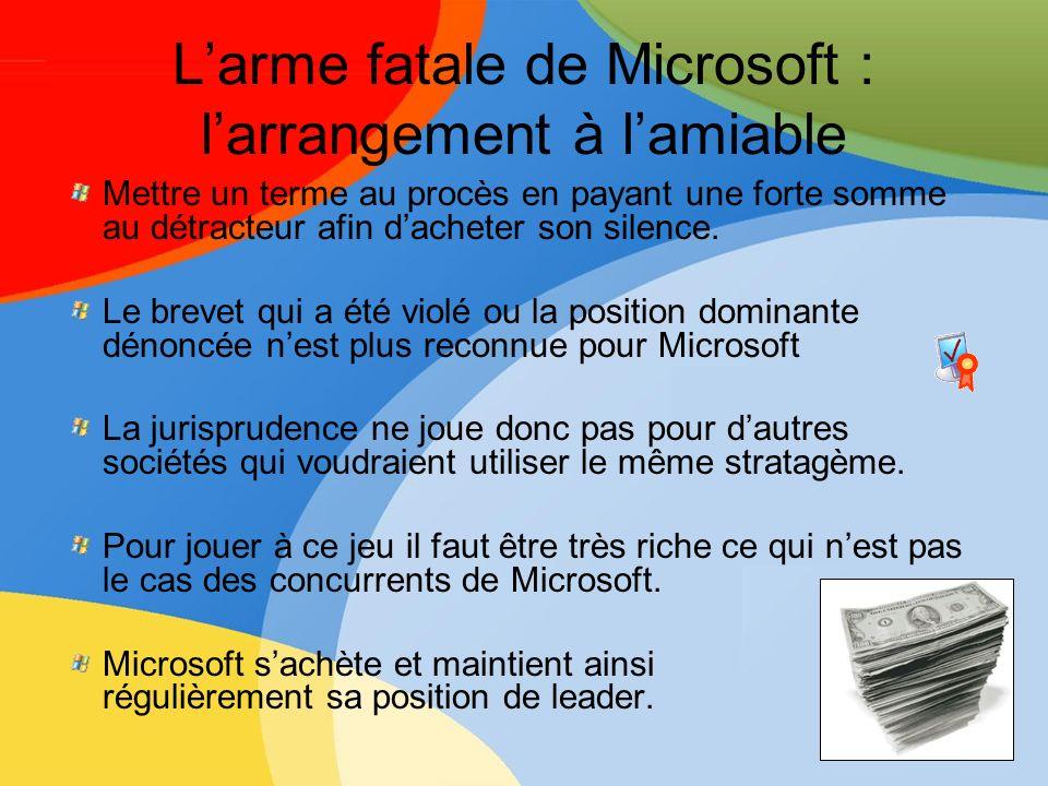 Larme fatale de Microsoft : larrangement à lamiable Mettre un terme au procès en payant une forte somme au détracteur afin dacheter son silence. Le br