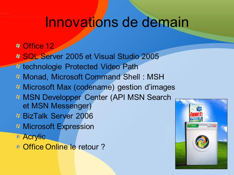 Innovations de demain Office 12 SQL Server 2005 et Visual Studio 2005 technologie Protected Video Path Monad, Microsoft Command Shell : MSH Microsoft