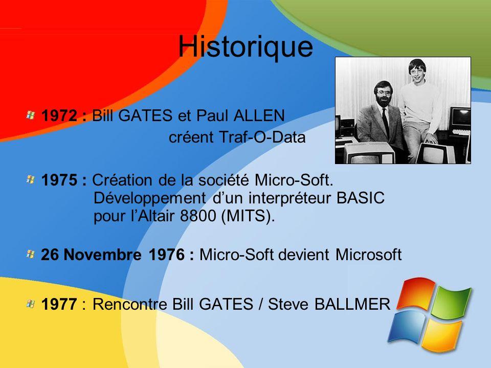 Historique 1972 : Bill GATES et Paul ALLEN créent Traf-O-Data 1975 : Création de la société Micro-Soft. Développement dun interpréteur BASIC pour lAlt
