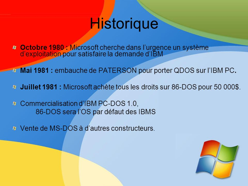 Historique Octobre 1980 : Microsoft cherche dans lurgence un système dexploitation pour satisfaire la demande dIBM Mai 1981 : embauche de PATERSON pou