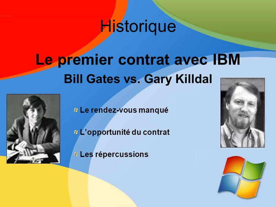 Historique Le premier contrat avec IBM Bill Gates vs. Gary Killdal Le rendez-vous manqué Lopportunité du contrat Les répercussions