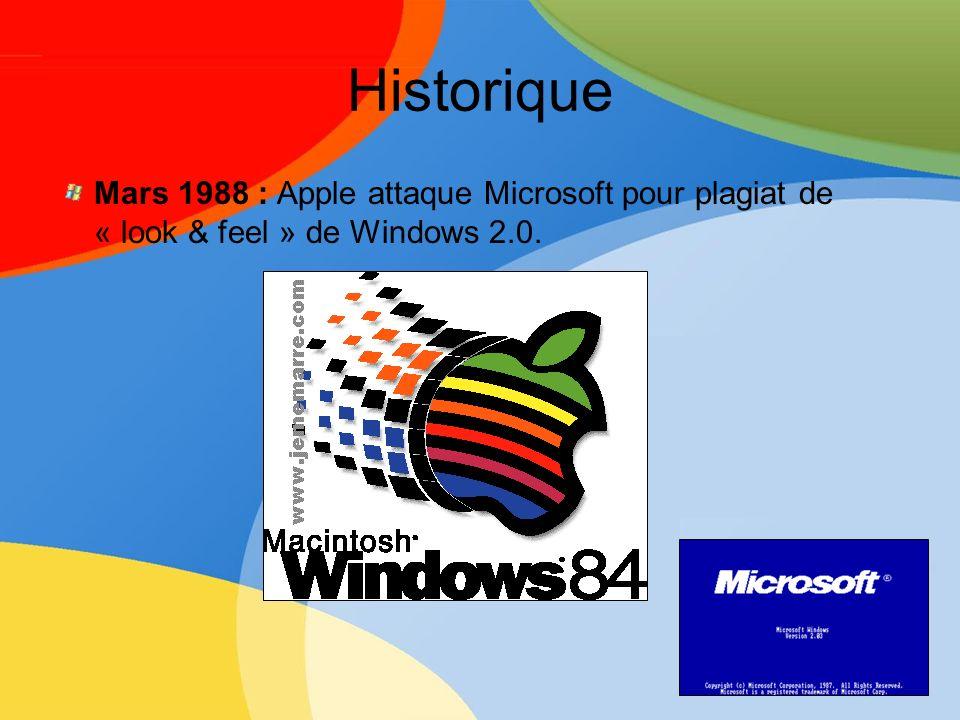 Historique Mai 1990 : Windows 3.0 = succès : 10 millions vendus en 2 ans Juillet 1990 : plus d1 milliard de $ en vente annuelle Avril 1992 : Windows 3.1 : 1 million de pré-commandes Avril 1993 : + de 25 millions dutilisateurs Août 1995 : Windows 95