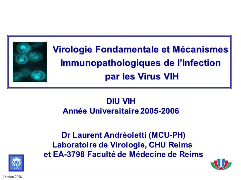 Version 2006 LES VIRUS VIH - Structure du VIH & Classification - Cellules cibles et multiplication du virus - Histoire Immunologique de linfection par le VIH - Histoire naturelle de linfection par le VIH - Persistance et évolution du VIH dans les réservoirs cellulaires et anatomiques