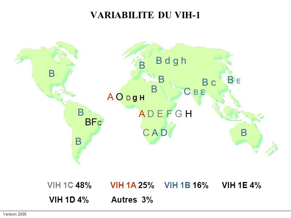 Version 2006 VARIABILITE DU VIH-1 A O D g H B B B BF C B B B d g h B B A D E F G H C A D B c C B E B E VIH 1C 48%VIH 1A 25%VIH 1B 16%VIH 1E 4% VIH 1D
