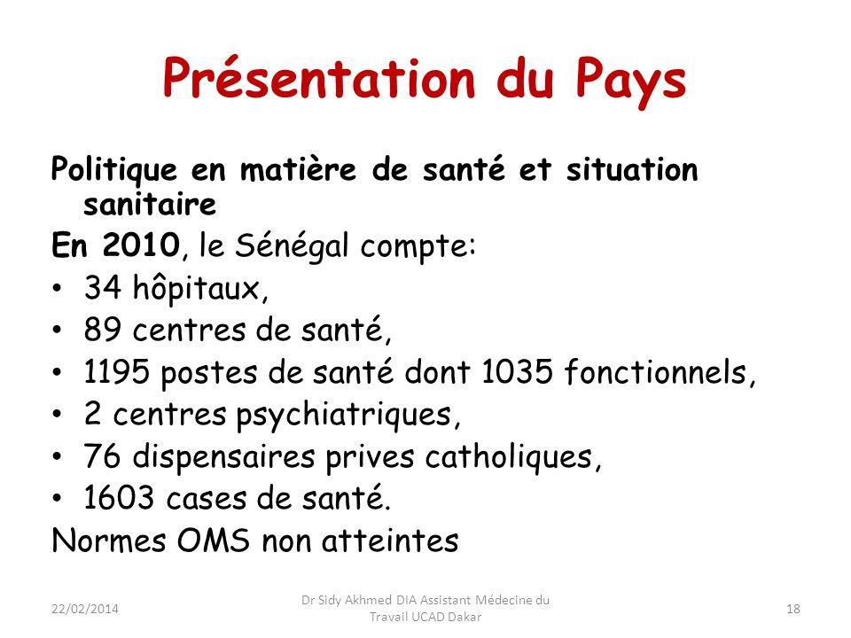 Présentation du Pays Politique en matière de santé et situation sanitaire En 2010, le Sénégal compte: 34 hôpitaux, 89 centres de santé, 1195 postes de