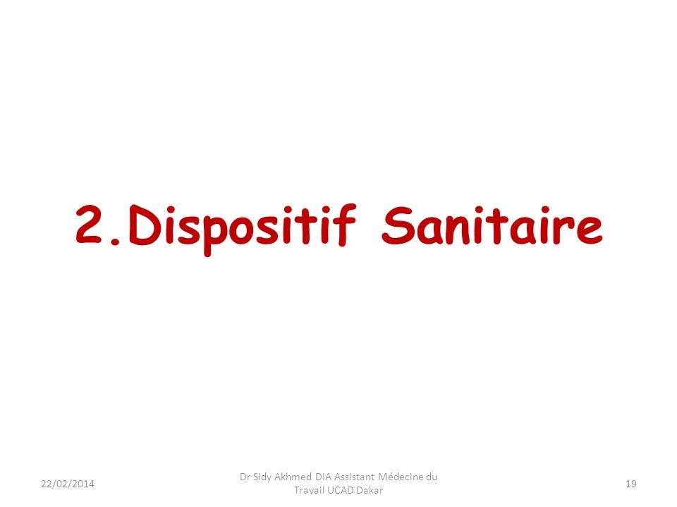 2.Dispositif Sanitaire 19 Dr Sidy Akhmed DIA Assistant Médecine du Travail UCAD Dakar 22/02/2014