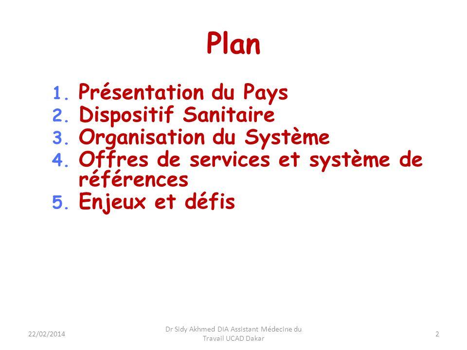 Présentation du Pays Politique en matière de santé et situation sanitaire Politique dans le secteur trouve son fondement dans la constitution sénégalaise (article 17) et vise les O.M.D.