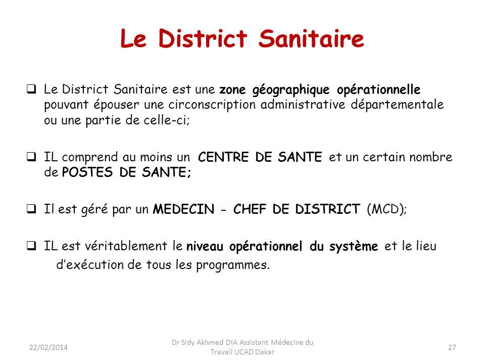 27 Le District Sanitaire Le District Sanitaire est une zone géographique opérationnelle pouvant épouser une circonscription administrative département