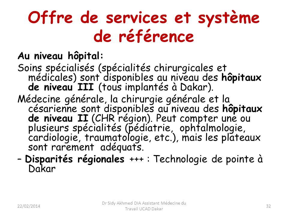 Offre de services et système de référence Au niveau hôpital: Soins spécialisés (spécialités chirurgicales et médicales) sont disponibles au niveau des