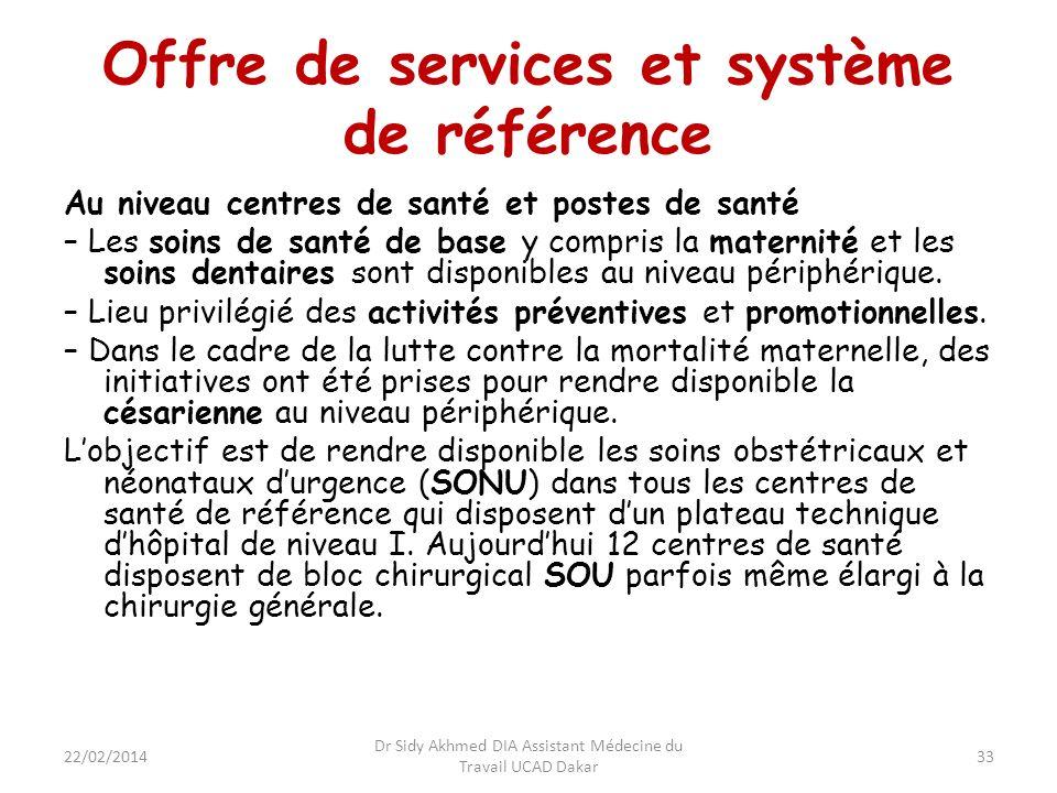 Offre de services et système de référence Au niveau centres de santé et postes de santé – Les soins de santé de base y compris la maternité et les soi