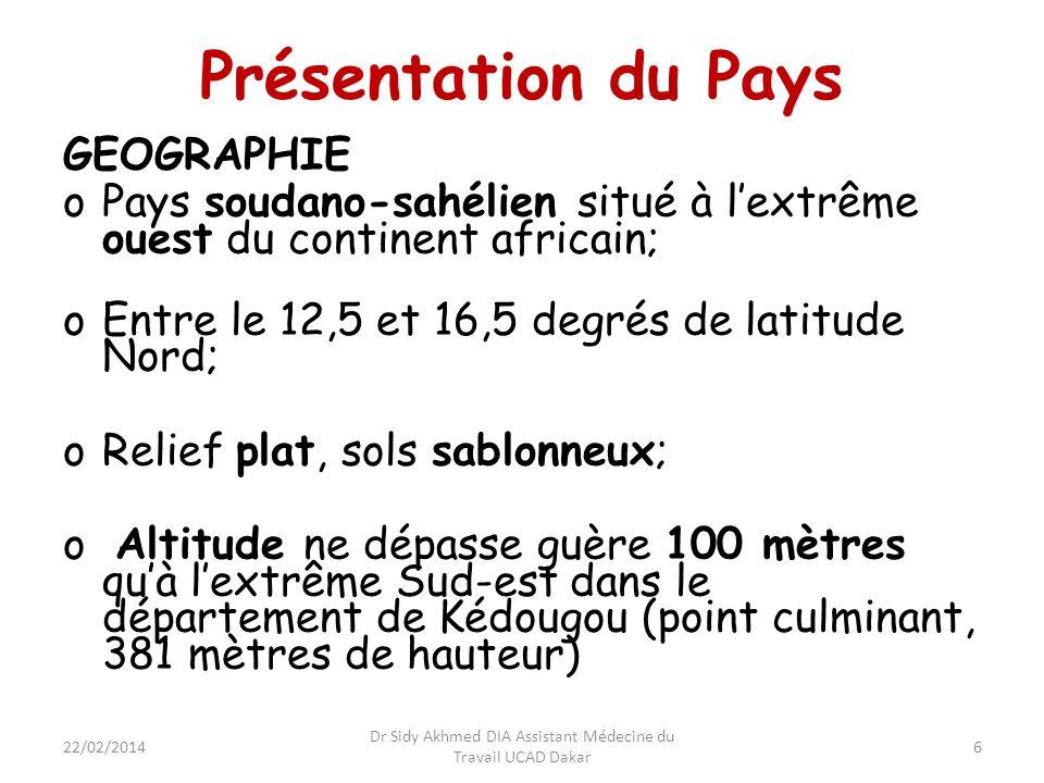 Présentation du Pays GEOGRAPHIE oPays soudano-sahélien situé à lextrême ouest du continent africain; oEntre le 12,5 et 16,5 degrés de latitude Nord; o
