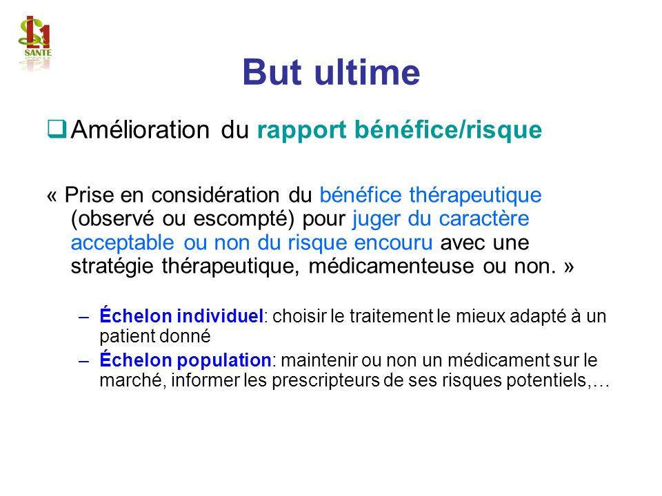 But ultime Amélioration du rapport bénéfice/risque « Prise en considération du bénéfice thérapeutique (observé ou escompté) pour juger du caractère ac