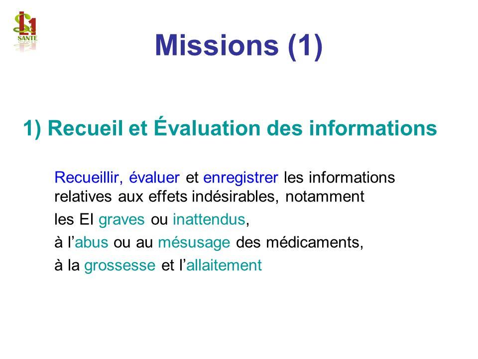 Missions (1) 1) Recueil et Évaluation des informations Recueillir, évaluer et enregistrer les informations relatives aux effets indésirables, notammen