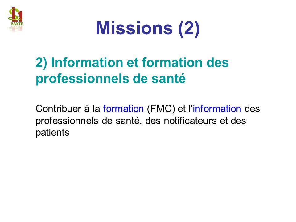 Missions (2) 2) Information et formation des professionnels de santé Contribuer à la formation (FMC) et linformation des professionnels de santé, des