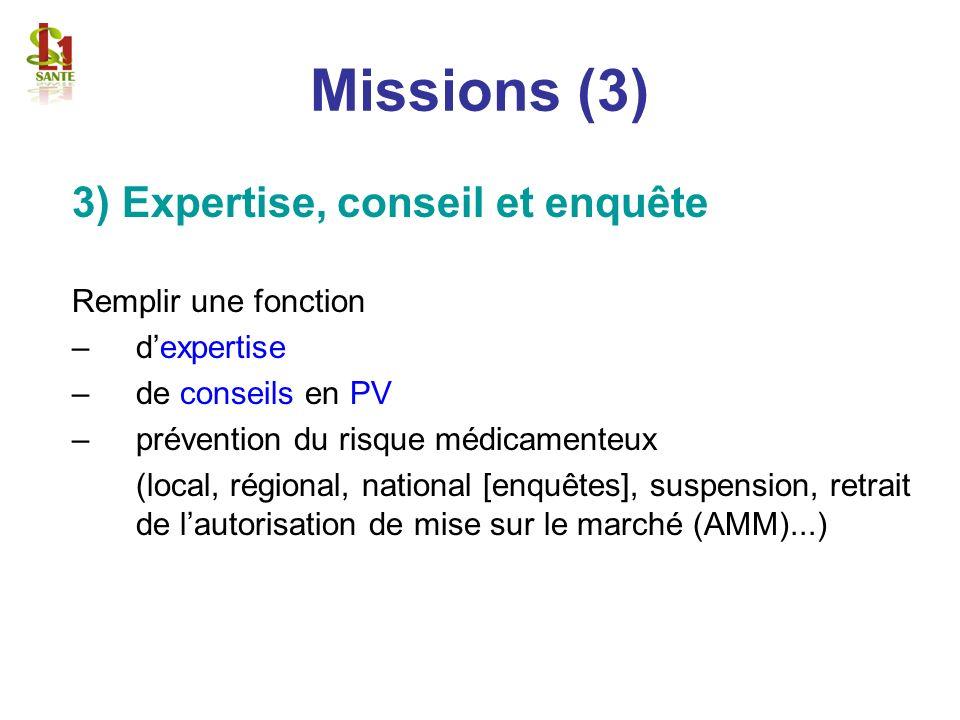 Missions (3) 3) Expertise, conseil et enquête Remplir une fonction –dexpertise –de conseils en PV –prévention du risque médicamenteux (local, régional