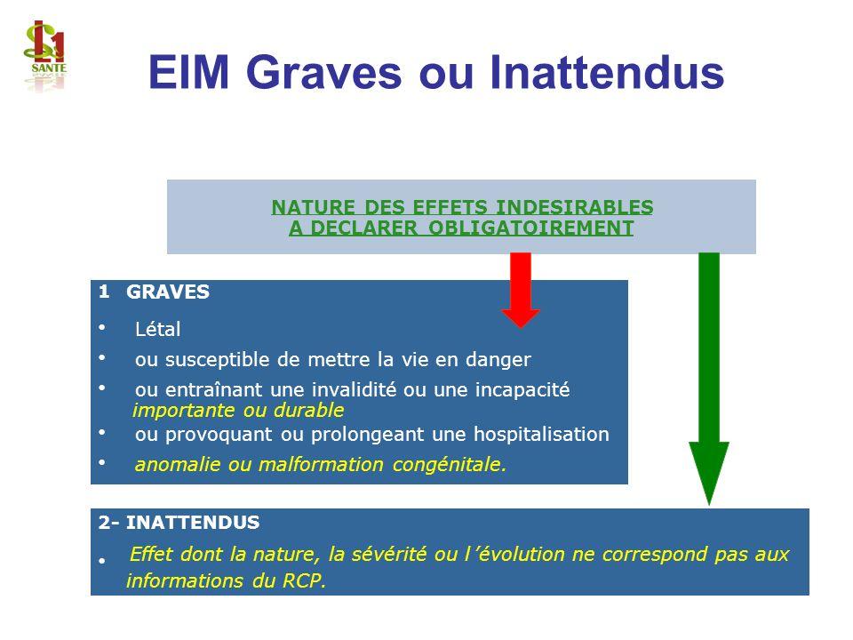 EIM Graves ou Inattendus NATURE DES EFFETS INDESIRABLES A DECLARER OBLIGATOIREMENT NATURE DES EFFETS INDESIRABLES A DECLARER OBLIGATOIREMENT 1 GRAVES