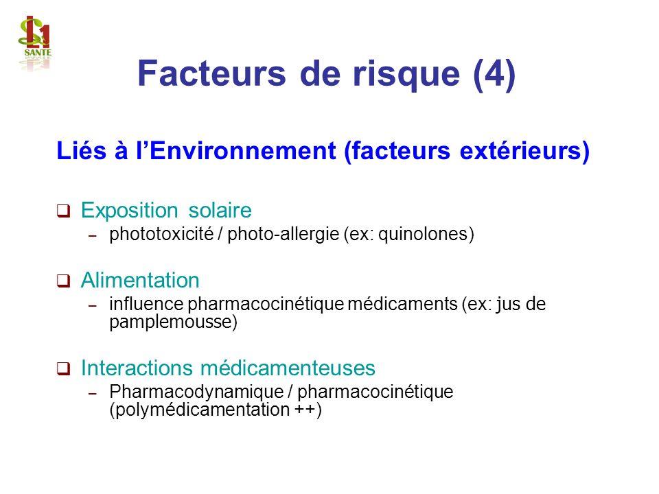 Liés à lEnvironnement (facteurs extérieurs) Exposition solaire – phototoxicité / photo-allergie (ex: quinolones) Alimentation – influence pharmacociné