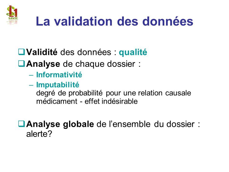La validation des données Validité des données : qualité Analyse de chaque dossier : –Informativité –Imputabilité degré de probabilité pour une relati