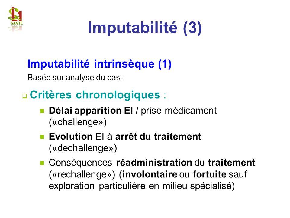 Imputabilité intrinsèque (1) Basée sur analyse du cas : Critères chronologiques : Délai apparition EI / prise médicament («challenge») Evolution EI à