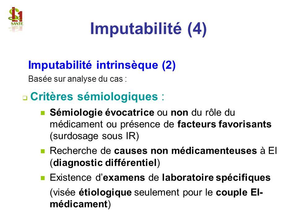 Critères sémiologiques : Sémiologie évocatrice ou non du rôle du médicament ou présence de facteurs favorisants (surdosage sous IR) Recherche de cause