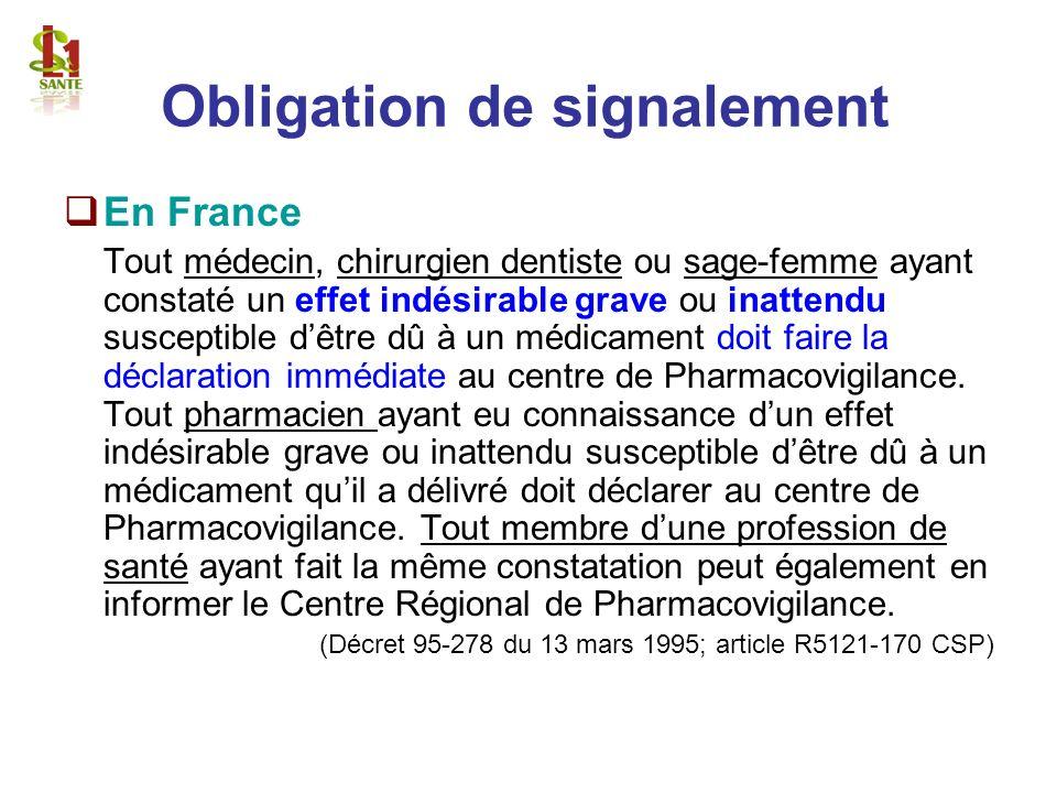 Obligation de signalement En France Tout médecin, chirurgien dentiste ou sage-femme ayant constaté un effet indésirable grave ou inattendu susceptible
