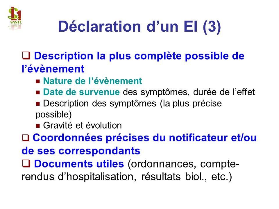 Description la plus complète possible de lévènement Nature de lévènement Date de survenue des symptômes, durée de leffet Description des symptômes (la