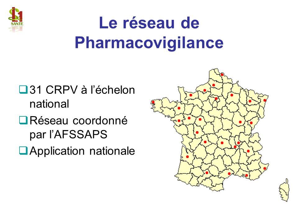 Le réseau de Pharmacovigilance 31 CRPV à léchelon national Réseau coordonné par lAFSSAPS Application nationale