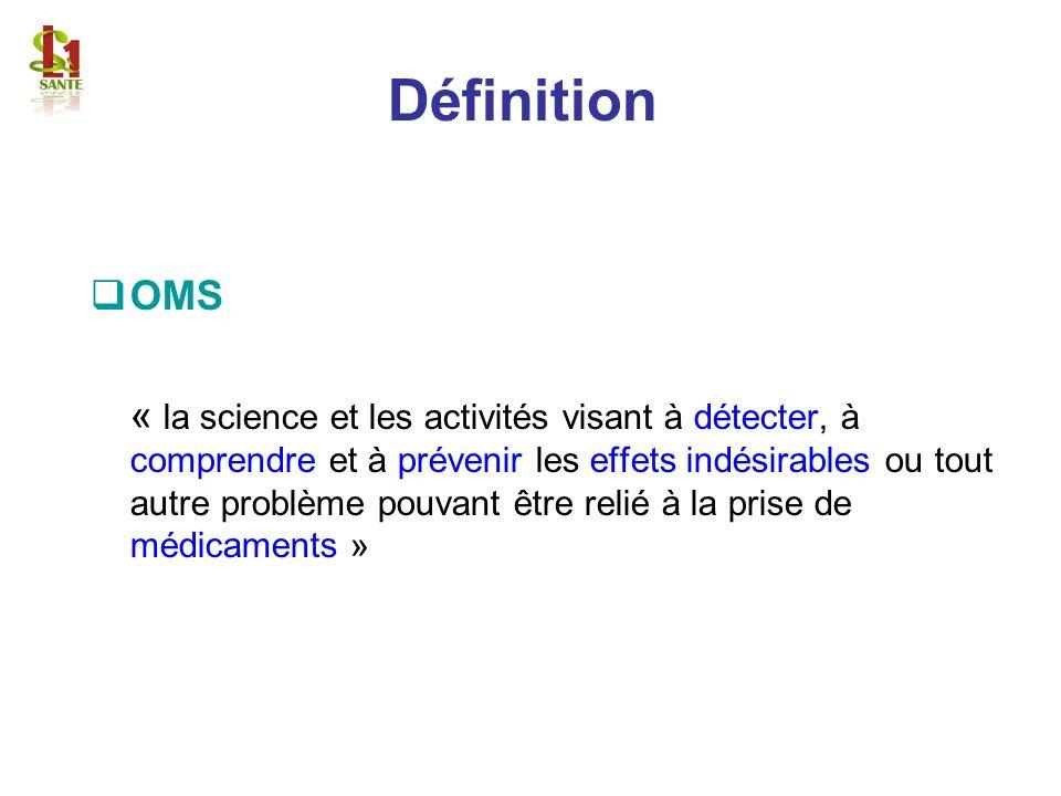 Définition OMS « la science et les activités visant à détecter, à comprendre et à prévenir les effets indésirables ou tout autre problème pouvant être
