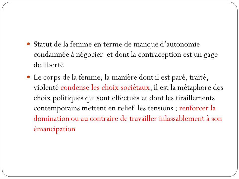 Statut de la femme en terme de manque dautonomie condamnée à négocier et dont la contraception est un gage de liberté Le corps de la femme, la manière