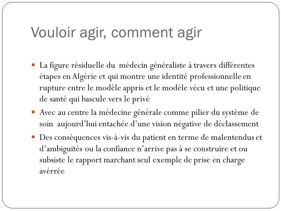 Vouloir agir, comment agir La figure résiduelle du médecin généraliste à travers différentes étapes en Algérie et qui montre une identité professionne