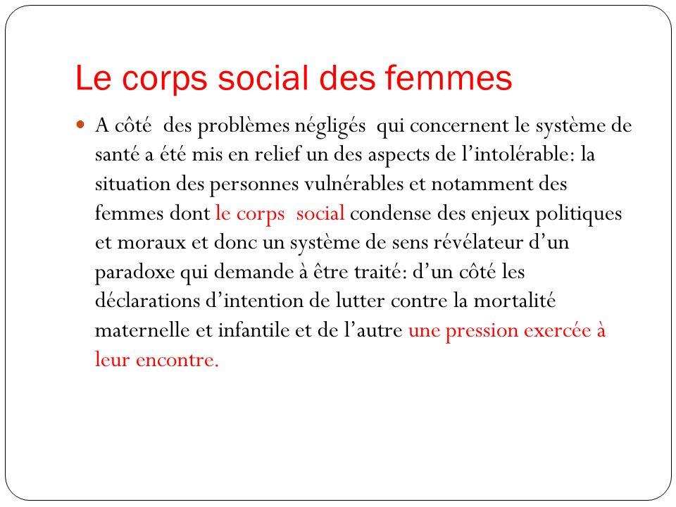 Le corps social des femmes A côté des problèmes négligés qui concernent le système de santé a été mis en relief un des aspects de lintolérable: la sit