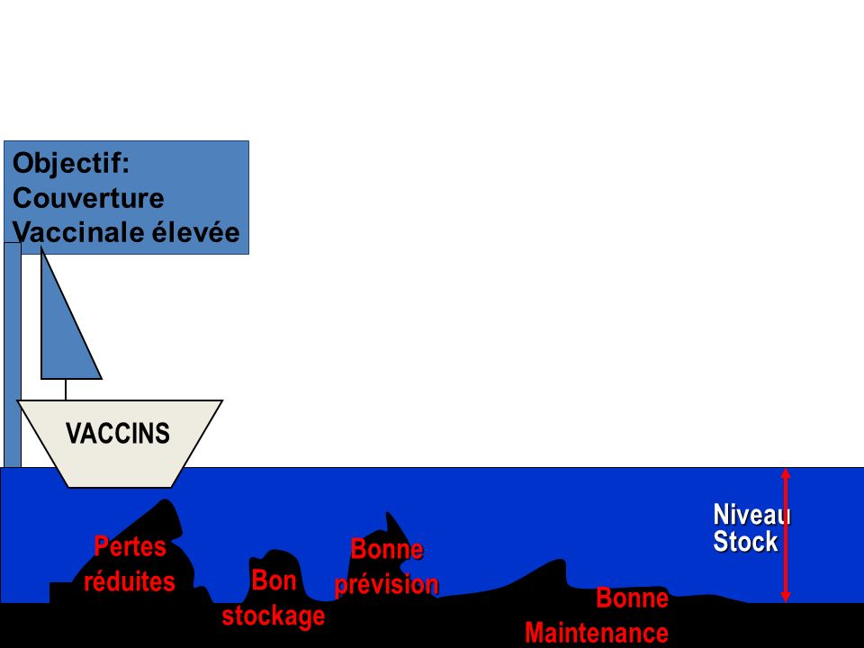 4 Objectif: Couverture Vaccinale élevée Niveau Stock VACCINS Pertes réduites Bon stockage Bonne prévision Bonne Maintenance