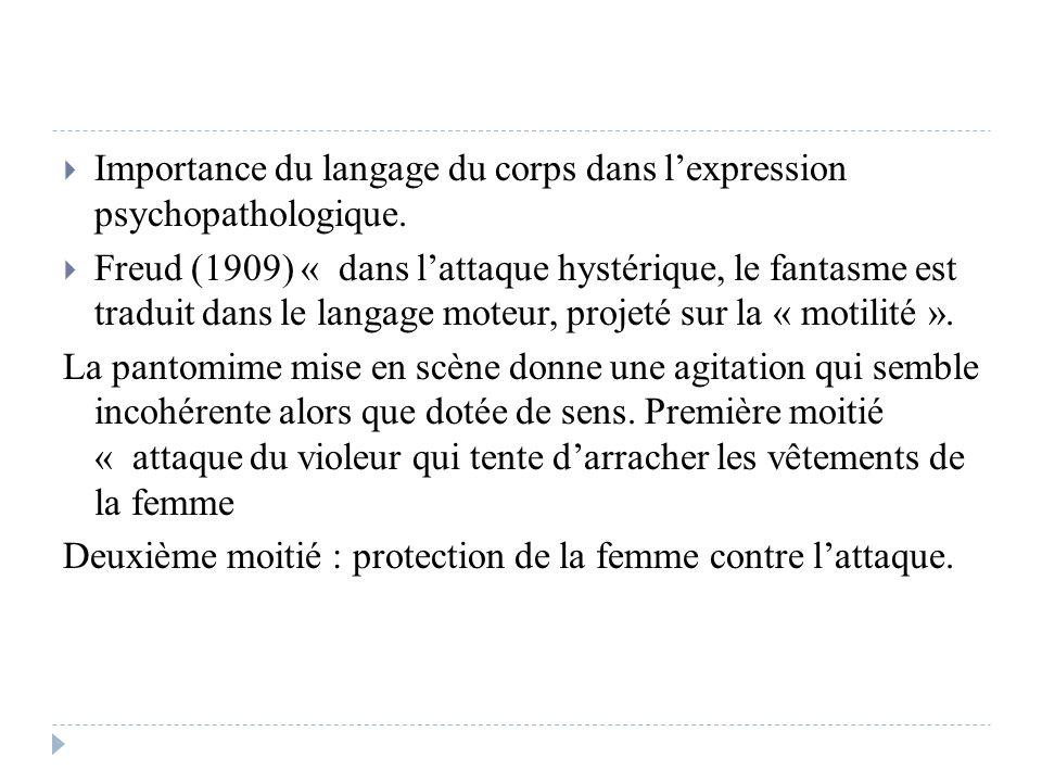 Importance du langage du corps dans lexpression psychopathologique. Freud (1909) « dans lattaque hystérique, le fantasme est traduit dans le langage m