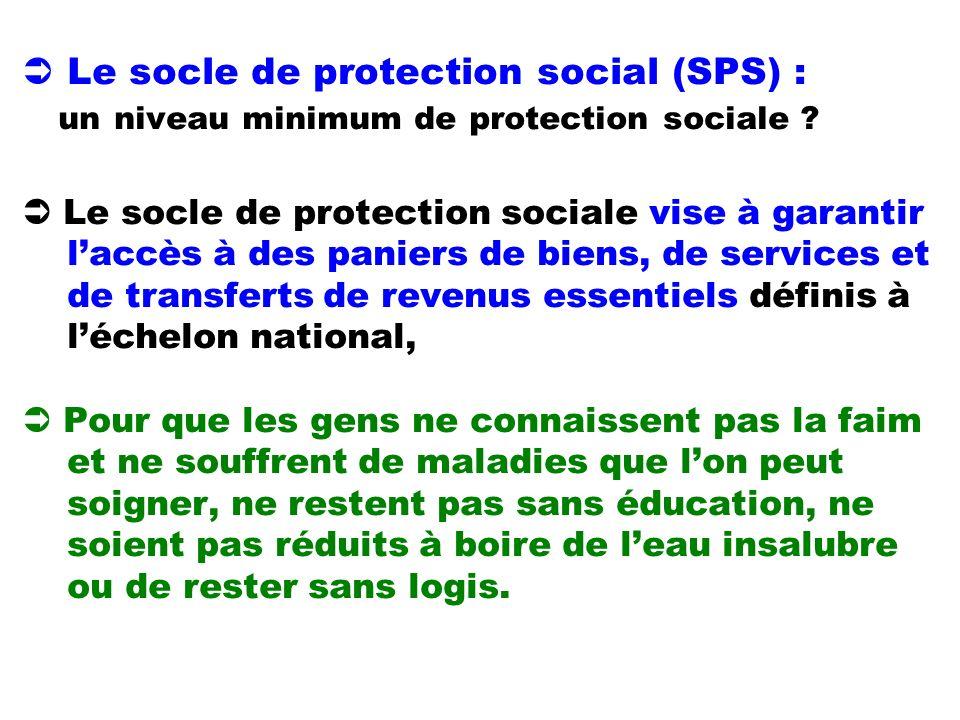 Le socle de protection social (SPS) : un niveau minimum de protection sociale ? Le socle de protection sociale vise à garantir laccès à des paniers de