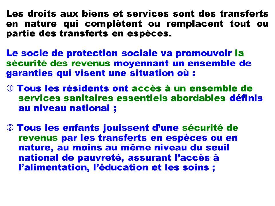 Les droits aux biens et services sont des transferts en nature qui complètent ou remplacent tout ou partie des transferts en espèces. Le socle de prot