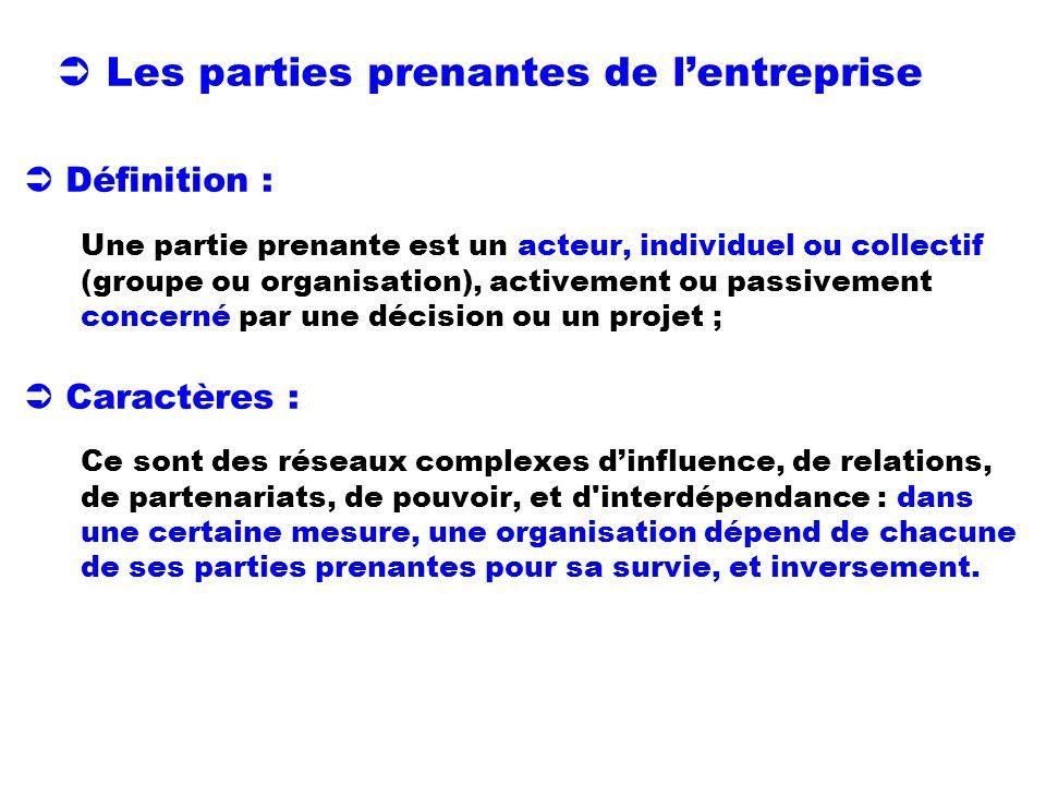 Les parties prenantes de lentreprise Définition : Une partie prenante est un acteur, individuel ou collectif (groupe ou organisation), activement ou p