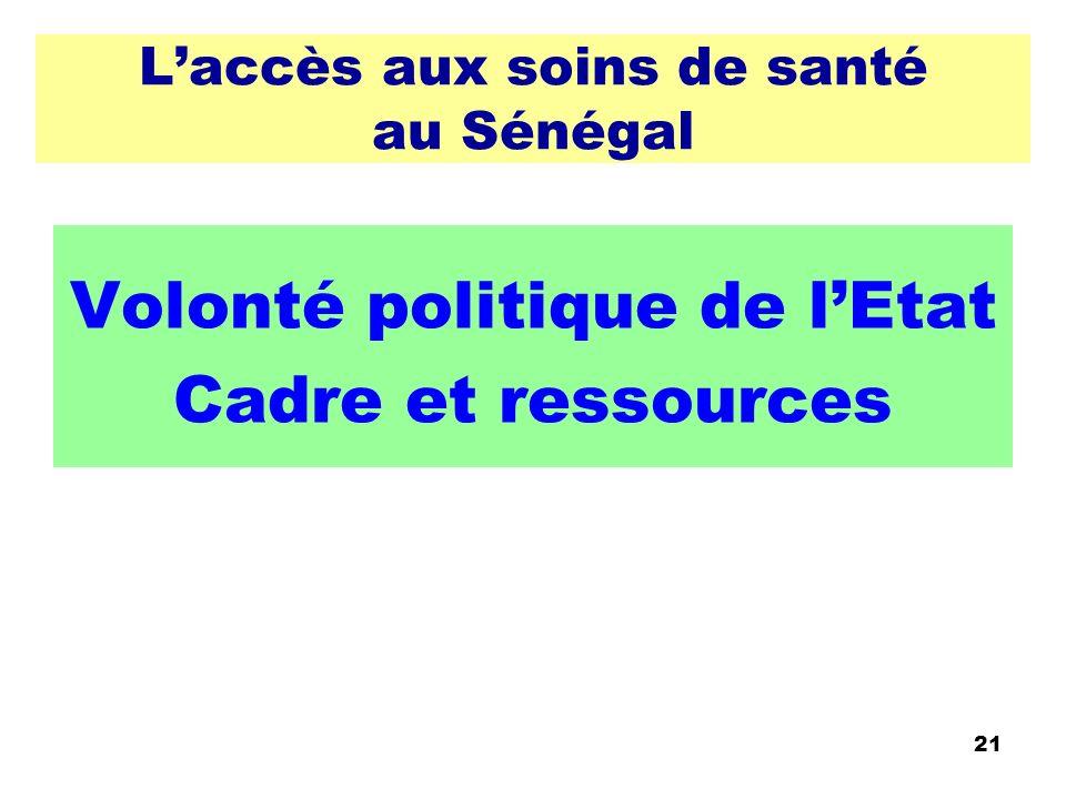 Laccès aux soins de santé au Sénégal Volonté politique de lEtat Cadre et ressources 21